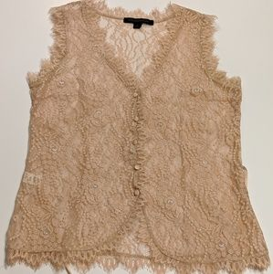 Express Design Studio Victorian Lace Sheer Top